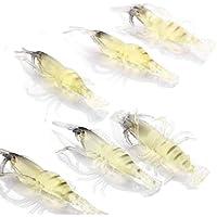 Wadoy  Lot de 20 leurres souples en forme de crevette pour pêcher la dorade, le bar, le poisson-crocodile, le merlan, le vivaneau