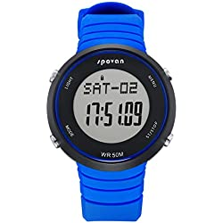Digital Watch - SPOVAN SPV900 Outdoor Sports Digital Watch with Heart Rate Monitor&Alarm/3D Pedometer/Calories/Mileage Blue