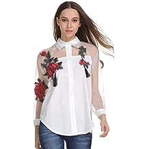 Battercake Camisas Mujer Primavera Elegante Moda Blusa Gasa Splice Bordados Casuales Mujeres De Solapa Manga Larga