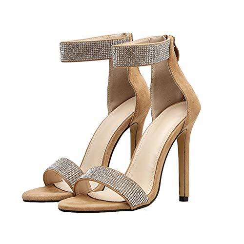 SOOKi Knöchelriemen High Heel Sandalen Schnallenriemen Stiletto Pumps Damen High Heels Party Hochzeitsschuhe Damen,Brown,37EU6.5US4UK