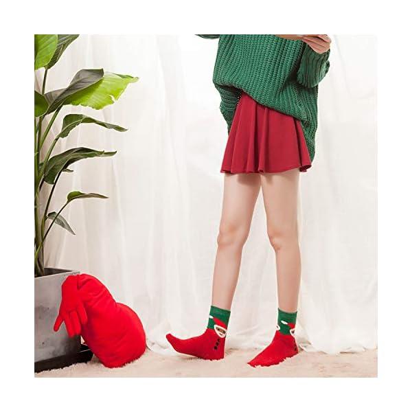 LIKERAINY Ragazze Donna Calzini Lana di Natale Caldo Inverno Confortevole Babbo Natale e Alce 5 Paia 4 spesavip