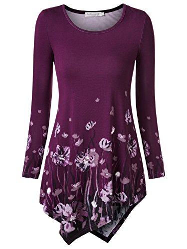 BaiShengGT Damen Tie-Dye Langarmshirt Asymmetrisch Hem Tunika Stretch Longshirts Lila-Muster