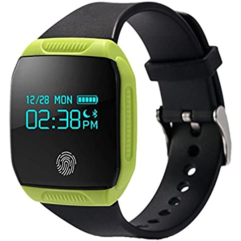 COOSA inteligente Muñequera E07S (E07 Mejor) pulsera de sincronización Actividad Salud impermeable GPS rastreador de ejercicios Bluetooth para Android y Smart Band IOS (verde, E07S)