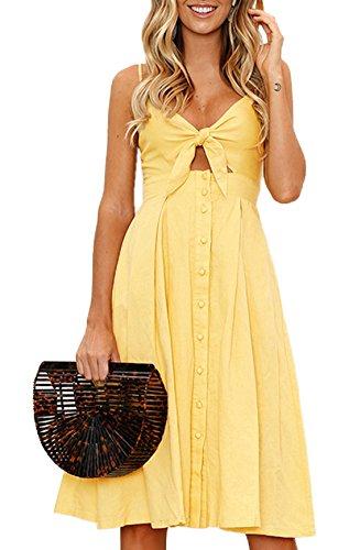 Woweal Damen Sommer Sexy Rückenfrei Kleider Knielang Trägerkleid Fashion Einfarbig Kleid mit Schleife Buttons Freizeit Partykleider...