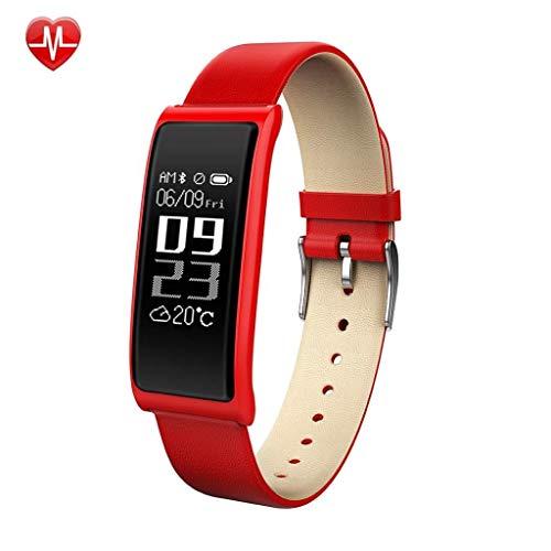 Intelligente Uhr Fitness Tracker, Sport-Pedometer, Herzfrequenz-Blutdruck-Schlafmonitor, wasserdichtes IP67-Smart-Band, intelligente Uhren für Android/iOS (Color : Rot) -