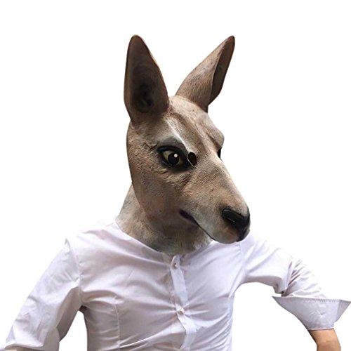 LvRao Full Head Erwachsene Masken Latex Gummi Känguru Tiermasken für Fasching Halloween Parties # Känguru
