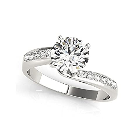 1.50 Ct Round Cut Diamond Engagement Ring 14K White Gold Solitaire Size I J K L M N (N)