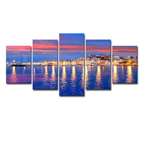 XUELIBING Fondo Arte de la Pared Hermosa Ibiza Tarde Paisaje Marino Sin Marco Cinco Pinturas Decoración del hogar Mural Pegatinas de Pared,S