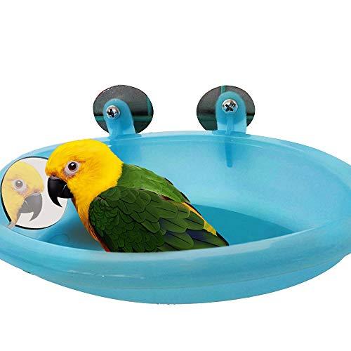 Robluee Hängende Badewanne für Vögel, kleine Tiere, mit Spiegel aus Kunststoff, 18,7 x 10 x 3,5 cm -