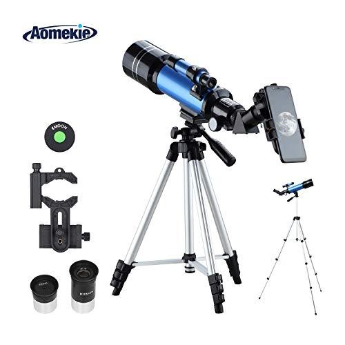 Aomekie Telescopio Astronomico Telescopio Niños 70/400 con Adaptador de Teléfono Trípode Ajustable Ffiltro Lunar para Observación de Estrellas y Observación de Aves para Niños Regalo de Navidad