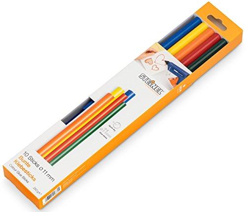 Steinel Colour Klebesticks 11 mm, 10 farbige Sticks, 250 g, bunter Schmelzkleber für kratives Basteln und Schmücken