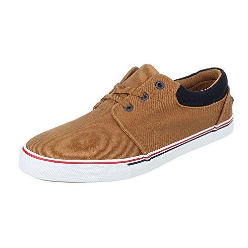 Schnürschuhe Herrenschuhe Oxford Sneakers Schnürsenkel Ital-Design Halbschuhe Camel