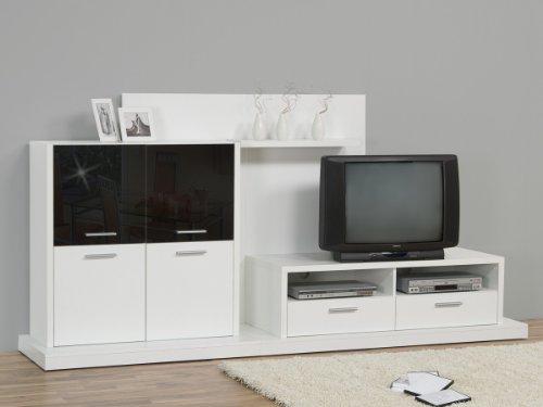 Designer Wohnwand - Anbaukombination Weiß Schwarz 259cm