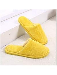 GAOHUI Slippers Los Hombres Otoño Invierno Antideslizante Térmico Terciopelo Artificial Personalizar Casual Amantes Zapatos,Amarillo,38-39