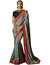Aarti Apparels Women's Designer Embroiderd Chiffon, Silk Saree_Grey_SRYA-2122