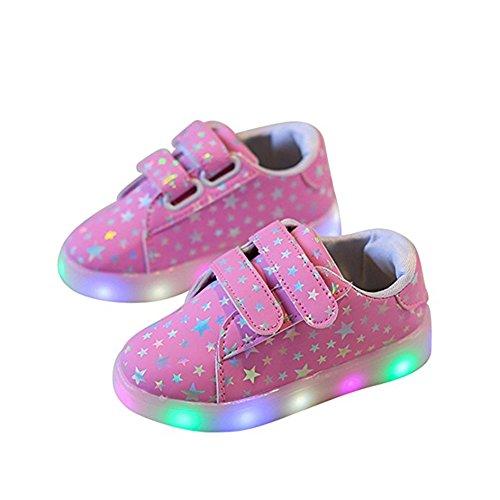 Kinderschuhe, Chickwin Baby LED Kinderschuhe Unisex Weich Und Bequem Rutschfest Bunte LED-Leuchten Schuhe SportSchuhe Flashing Schuhe (29 / Maß Innen (cm) 17.5, Rosa) (Leuchten Tennis Schuhe)