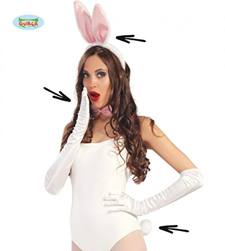 Guirca Weiß Rosa Bunny Set Ohren Hase Fliege Kostüm Sexy Fasching