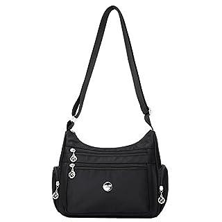 Women's Multi Pocket Casual Cross Body Handbag Travel Waterproof Nylon Bags (Black)