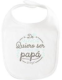 """Mr. Wonderful WOA03703ES - Babero con diseño """"De mayor quiero ser como mi papá"""", 0 -18 meses, color blanco"""