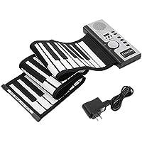 DoMoment 61 Teclas Teclado Electrónico de Piano Silicio Flexible Roll Up Digital Piano 128 Tono para Niños Juguete Aprendizaje Principiante Juguetes Educativos