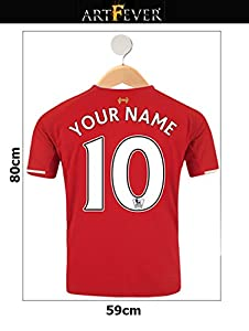Red & White Trim Shirt Your Name & Number Custom Printed Football Shirt On Hanger Wall Sticker from Art Fever