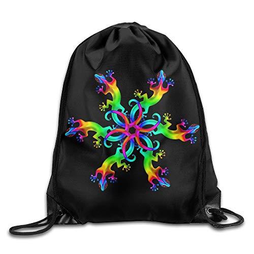 Colorful Gecko Lizard Hawaii Unisex Drawstring Backpack Travel Sports Bag Drawstring Beam Port Backpack. -