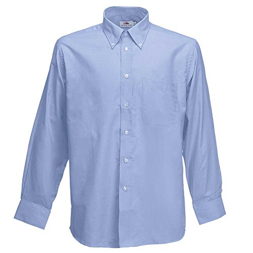 Fruit of the Loom Mens Long Sleeve Oxford Shirt (Collar White Manschette-hemd)