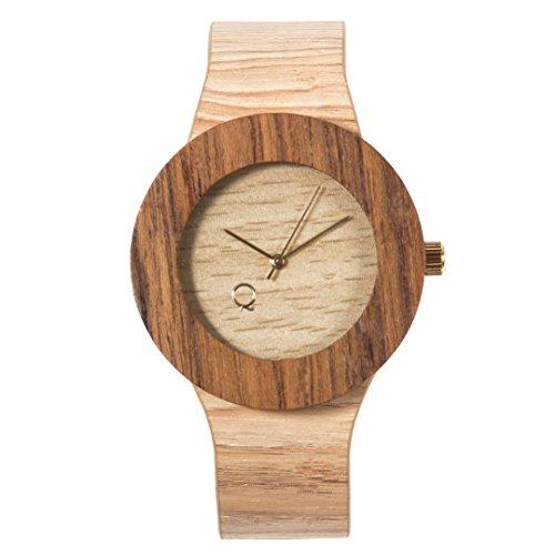 seQoya - Serengeti | Reloj de Madera con Esfera de Madera y Correa de Piel ecológica simulando Madera Estampada | Reloj Hombre y Mujer | Diseño único y Original