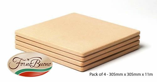 FORNO BUONO� SQUARE PIZZA STONE 305mm x 305mm x 11mm PACK OF FOUR Corderite Baking/Pizza Stones - For Oven, Grill or BBQ