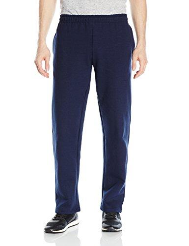 Gildan Men's Fleece Open Bottom Pocketed Pant, Navy, Small (Pant Bottom Open Fleece)