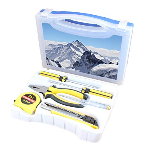 Handliches Werkzeugset Kombination Haushalt Winter Grundlegende DIY-Handwerkzeugkiste Mit Schraubendreher, Zange, Maßband, Teststift, Schneidwerkzeug, schneebedeckten Gipfeln der Rocky Mountains Tops -
