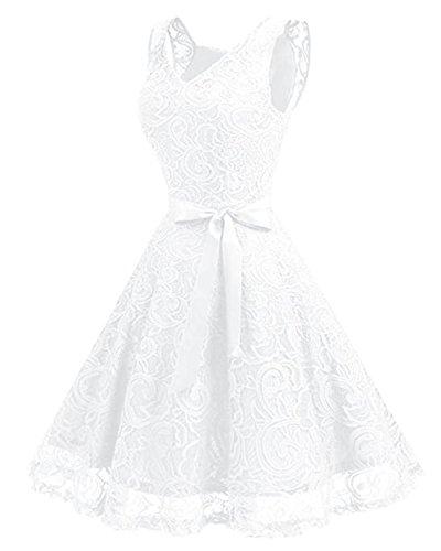 Kidsform Damen Spitzen Kleider Ärmellos V-Ausschnitt Partykleid 50er Jahre Abendkleider Cocktailkleid Elegant für Hochzeit Ballkleid Weiß EU 38-40/Etikettgröße M - 2