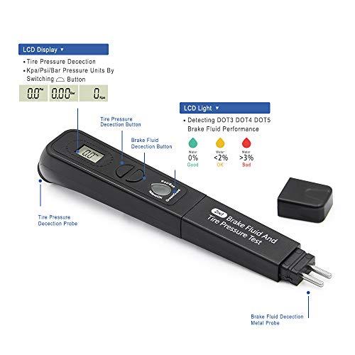 DishyKooker Bremsflüssigkeitsöl-Reifendruck-TPMS-Teststift 2 in 1 Bremsflüssigkeitsmessgerät Digitaler Reifendruckmesser Elektronisches Telefonzubehör für Reisen/Arbeiten