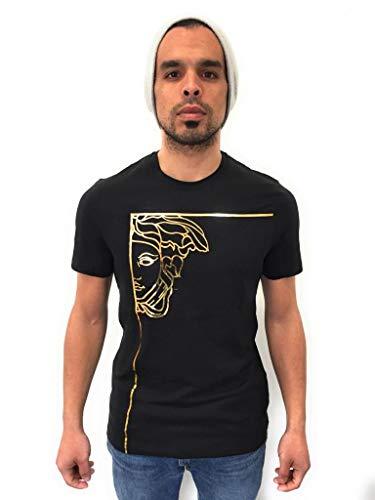 Versace Collection Männer T-Shirt Rundhals Baumwolle - Kurze Ärmel - Erhältlich in Schwarz, Weiß und Blau mit Goldener Verzierung - 100% Italienischer Stil (Schwarz, S)