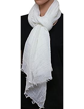 [Patrocinado]FIA MONETTI Estola de bufanda de mujer - Blanco - 180 x 70 cm - Bufanda con fucsias cortas en diferentes colores...