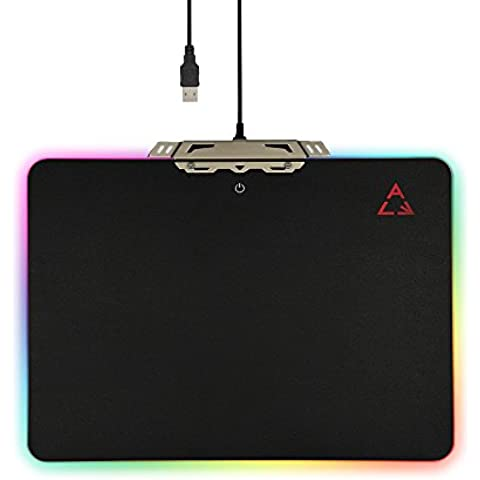 KKmoon Creativo LED Luce Duro Mouse da Gioco Pad USB Cavo Computer Notebook Mouse Tappetino con Anti Warlords Gomma 35 * 25cm