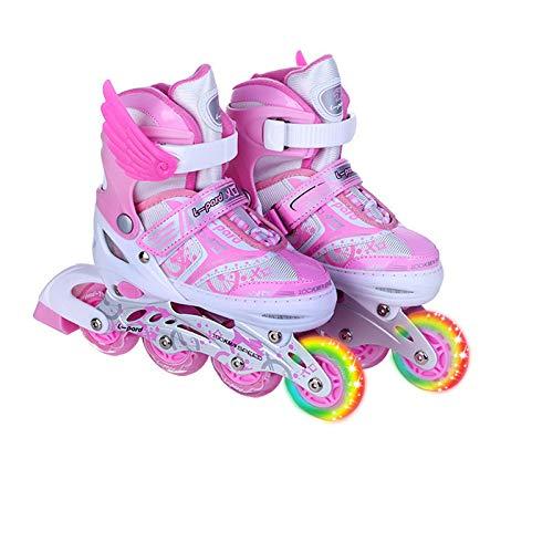 Skating Schuhe Inlineskates Flash Verstellbare Rollschuhe L (39-42) Pulver