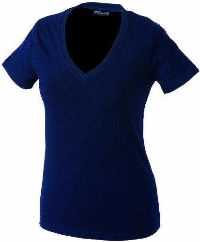 James & Nicholson Damen Fitness T-Shirt V-Ausschnitt Navy