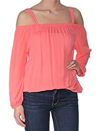 af3ff396a2034 Sanctuary Womens Coral Cold Shoulder Long Sleeve Square Neck Top Size  XS