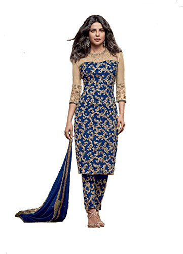 H-wine New Arrival Party Wear Blue Georgette Embroidered Salwar Suit
