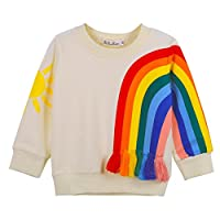BOBORA Toddler Girls Kids Long Sleeve Sun Rainbow Top Shirt Sweatshirt with Tassels