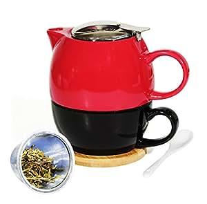 janazala th pour une th i re avec infuseur et tasse cuill re th bambou coasters mug. Black Bedroom Furniture Sets. Home Design Ideas