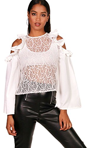 Elfenbein Damen Ruby Ruffle Lace Cold Shoulder Top