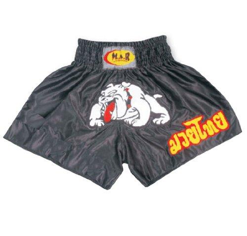 M.A.R International Ltd. Kick Boxen & Thai Boxing Shorts Kickboxen Hose MMA Hose Boxen Kleidung Muay Thai K1GEAR Polyester Satin Stoff, schwarz XS schwarz