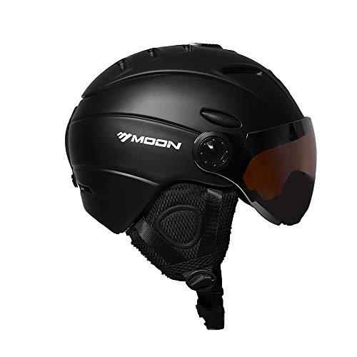 Lixada casco da sci, casco di sicurezza certificato casco da snowboard professionale per lo sci (55-61 cm) / occhiali da vista rimovibili a forma di paraorecchie, per adulto, unisex, nero/blu, m-l