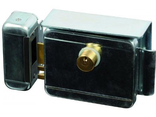 SCS SEN4131198 Serrure électrique avec bouton poussoir à l'intérieur - coque zinguée avec cylindre
