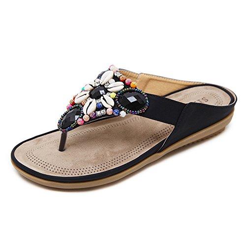 TYLS Shoes lww-Donne sandali Flip-flop per carattere umano a testa quadrata bordato in pelle scarpe da spiaggia Black