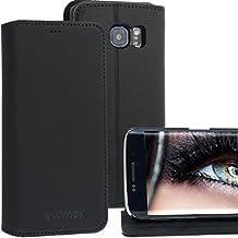 Galaxy S6Edge & S6Funda de piel/piel/funda/case/cover/funda/funda de Blumax para Samsung de piel auténtica para teléfono móvil estilo libro con tarjetero y función atril