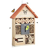 Relaxdays Casetta per Insetti Farfalle Butterfly Nido per api da Balcone HxLxP: 41,5 x 27,5 x 8,5 cm, Arancio