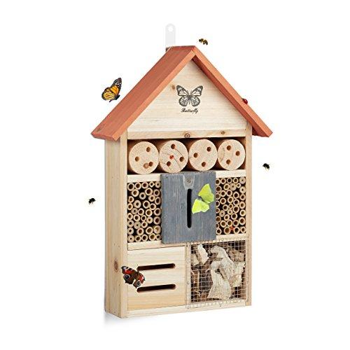Relaxdays Casetta per Insetti Farfalle Butterfly Nido per api da Balcone HxLxP: 41,5 x...